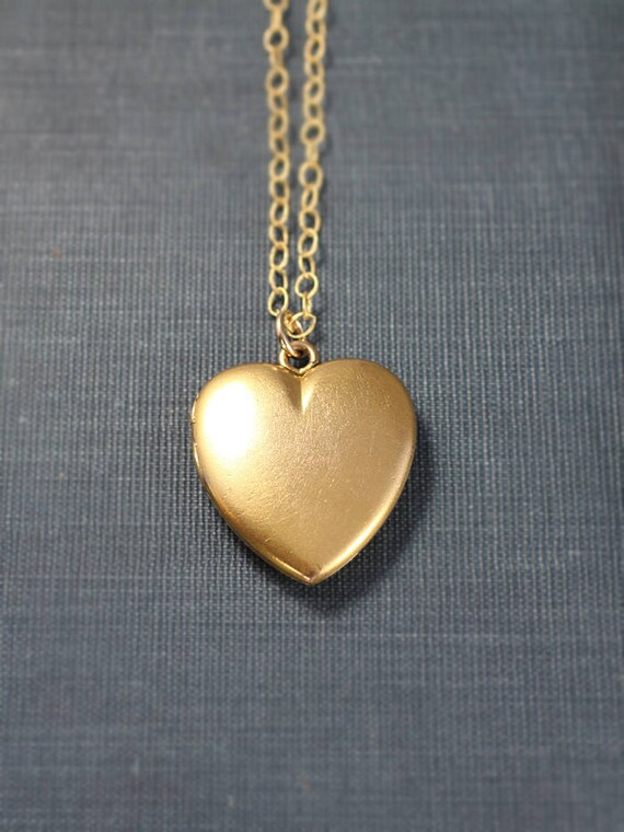Antique Gold Heart Locket Necklace, W&H Co Photo Pendant - There's a Heart in Every Locket