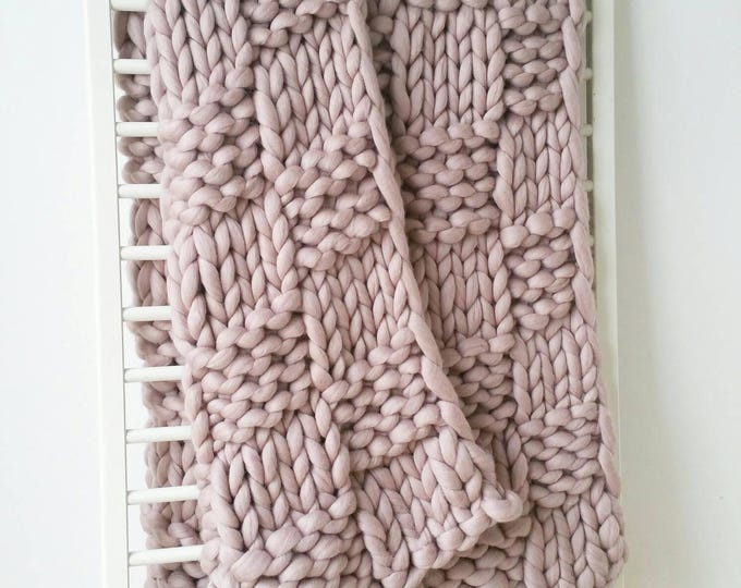 Featured listing image: Giant Knit Throw. Merino Wool Rug. Dusky Pink Blanket. Luxury Bed Runner.