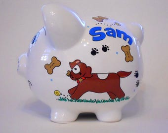 Personalized Piggy Bank Dogs and Puppies