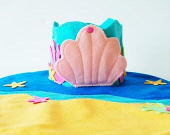 Large Mermaid Sea Castle Playset - Wood and Felt Includes figures - Felt Toy - Felt Castle - Unique Gift