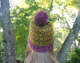 Fair Isle Knit Hat, Green and Mauve Fair Isle Hat, Women's Hat, Pom Pom Hat, Winter Hat, Hand Knit Hat, Knit Hat, Chunky Hat, Custom Hat