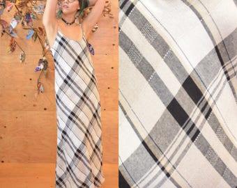 vintage 90's plaid grunge maxi dress minimalist column dress small S