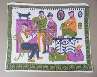 Vintage Scandinavian cotton printed place mat wall hanging