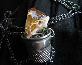 Raw crystal necklace | vintage thimble | terrarium necklace | citrine pendant | seashell | woodland