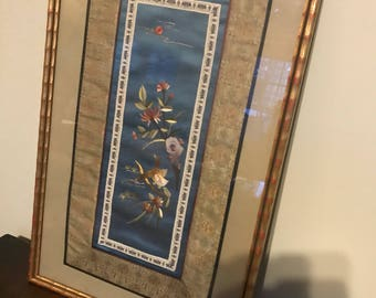 Framed Chinese Asian embroidered silk wall hanging