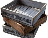 Save 50% on a Set of 3 Wheeled Wooden Cranberry Crates for Storage, Plants, Toys.
