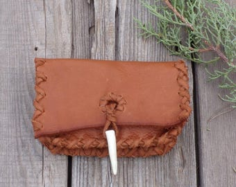 Small leather clutch , Soft leather wallet , Leather card case , Ready to ship