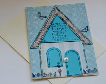 Free Motion Stitched Applique Greeting Card