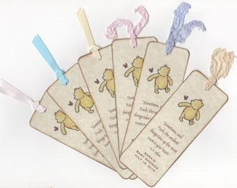 Custom Listing For Hannah - 25 Winnie The Pooh Bookmarks For Baby Shower Favors, Gender Neutral - Rustic Vintage Style