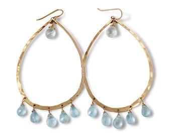 Aquamarine Chandelier Hoops - Long Blue Aquamarine Hoop Earrings - Large Gold Hoop Earrings - Large 14k Gold Fill Blue Aquamarine Earrings
