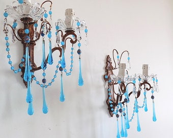 on sale PAIR OF Rare Italian brass sconces, clear blue Murano drops, Venetian beads