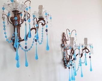 PAIR OF Rare Italian brass sconces, clear blue Murano drops, Venetian beads