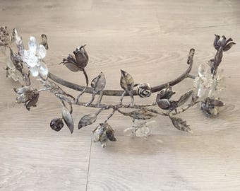 Bed canopy shabby chic look crib canopy, metal canopy for bed with roses and flowers