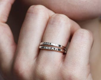 Dare To Dream rings, inspirational jewelry with words, inspirational gifts under 50, rings with words, gift for daughter - Juliet
