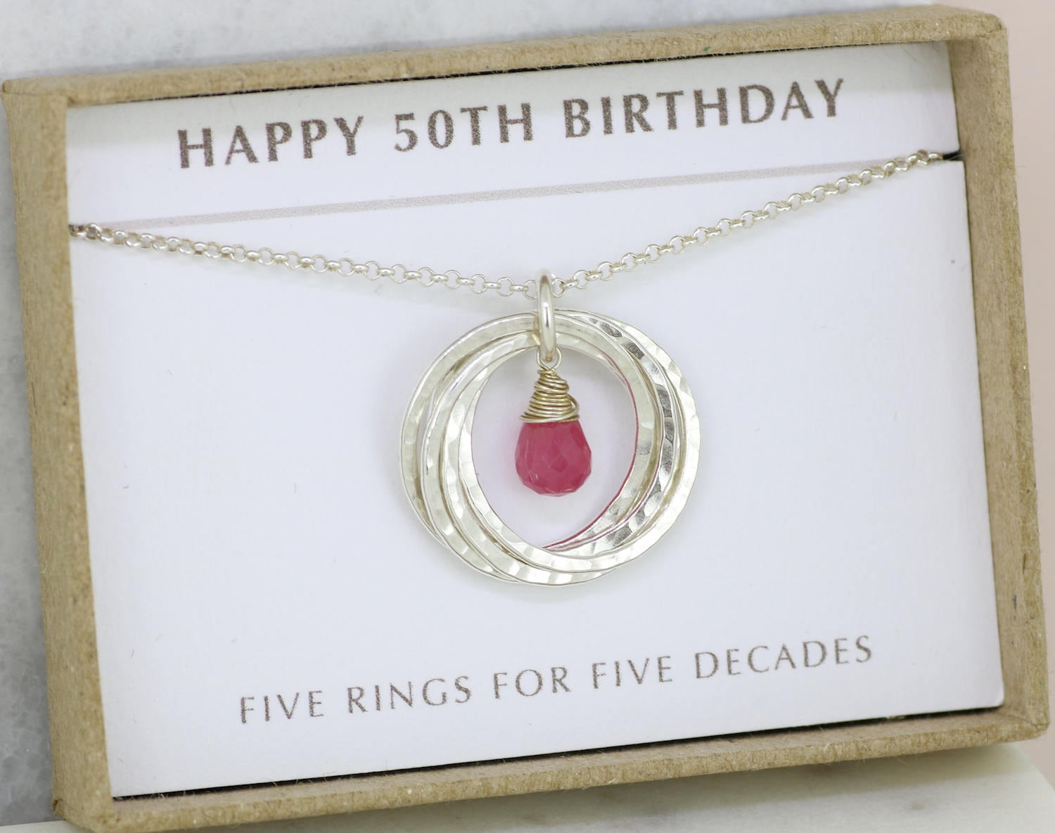 50th birthday gift pink sapphire necklace for 50th