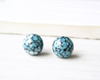 Titanium Post Earrings, Black Lampwork Glass Studs, Turquoise Blue Jewelry, Confetti, Nickel Free, White, Speckled