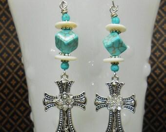 Western Cross Earrings - Cowgirl Earrings - Howlite Turquoise Cross Earrings - Southwest Statement Earrings - Boho Earrings - LAREDO DROPS