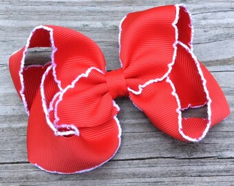 Red Hair Bow, Red Moonstitch Hair Bow, Red and White Hair Bow, Basic Hair Bows, Toddler Hair Bow, Girls Hair Bows, Red Boutique Bow