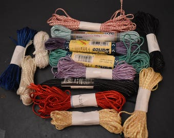 DESTASH /// 13 full or almost full skeins of craft cord in assorted colors. Macreme, needlepoint