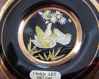 Black and Gold Two Birds in A Pond Ceramic  Dish The Art  of Chokin 24K Gold Edged Made in Japan