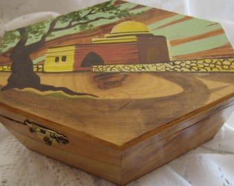 Rare Vintage Olive Wood Etrog Box Jerusalem Hand Painted Made in Israel Rachel's Tomb Judaica