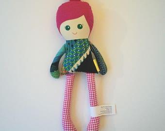 Fabric Doll Rag Doll Modern Cloth Doll Plush Doll Baby Doll Sweetie Doll Hot Pink Hair Modern Top Her Bunnies Three