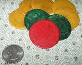 Vintage 8 Bakelite Catalin Marbled Butterscotch Red Green Poker Chips