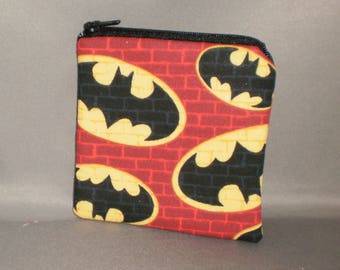 Batman - Coin Purse - Gift Card Holder - Card Case -Small Padded Zippered Pouch - Mini Wallet