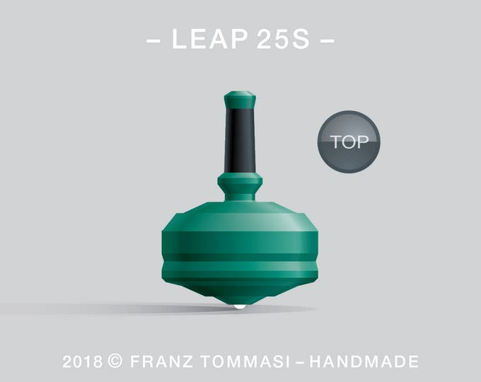LEAP 25S Green – Precision handmade spin top with ceramic tip and integrated rubber grip