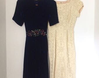Job lot of two vintage 1940s dresses with flaws - sold as seen for study, repair or costume / navy silk velvet evening dress / cream lace