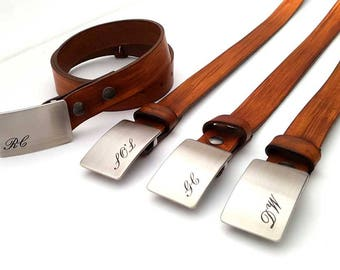 Belt and Buckle ~ Groom & Groomsmen's Gift ~ Monogrammed Buckle and Belt ~ Personalized Gifts for Groomsmen ~Men's Keepsake ~ Boyfriend Gift