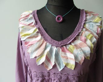 Shabby Chic Leaf Tshirt, Embellished Shirt, Lavender Purple Tee, Upcycled Recycled Repurposed Clothing, Anthropologie Style, Mori Girl Tops