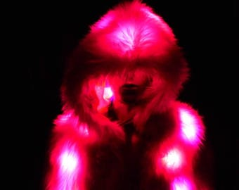 Pink Candy Faux Fur Light Up Coat - Pink Tipped White 80 LEDs Light Up Fur - Burning Man - LED Coat - Ready to Ship - Festival Playa Wear