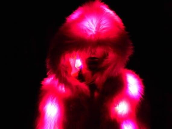 Faux Fur Coat Pink Faux Fur Light Up Coat 80 LEDs Light Up Fur
