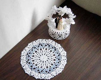 Pastel Blue and White Lace Crochet Doily, French Country Cottage Table Accessory, Feminine, Paris Bedroom Decor, Something Blue for Bride