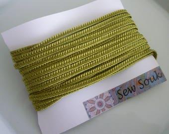 Golden Lime Moroccan very narrow woven flat braid, art silk 5 metres