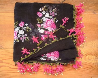 black and pink scarf with pink flower trim, turkish oya, cotton
