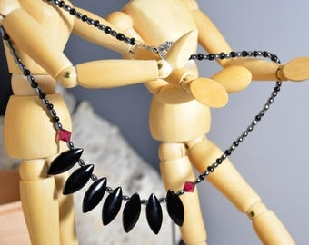 Black Obsidian Hematite Red Czech Crystal Glass Beaded Choker Necklace Toggle Clasp Halloween Unique Gothic