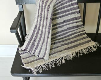 Hand Woven Cotton Rag Rug-Purple Stripes-Union #36 Loom