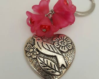 Fuchsia Pink Flower, Bird and Heart Keychain/ Bag Charm