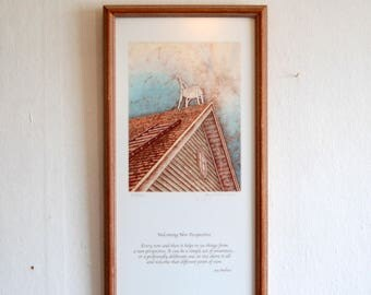 """Limited Edition Etching with Poem by artist Joy Wallace, titled """"Welcoming New Perspectives"""" ~ Signed & Numbered Limited Edition Frame Print"""