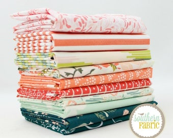 "Summer Evenings - Fat Quarter Bundle - 10 - 18""x21"" Cuts - by Mixed Designers Quilt Fabric"