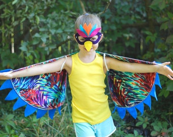 Pretend Play Rainbow Wings - Childrens Costume Wings - Colorful Bird Kid Costume - 2 yrs to 8 yrs - Little Bird Costume - Imaginative Play
