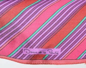 Vintage 90s STRIPED Oscar de la Renta SILK Scarf Purple Green