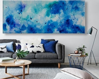 extra large original painting seascape blue turquoise painting horizontal modern wall art decor 'daydreams'