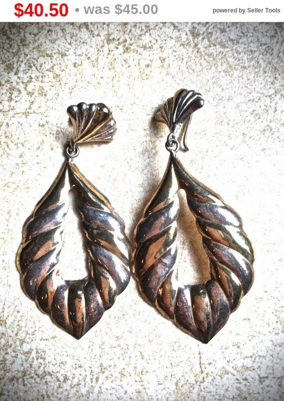 Summer Sale Sterling Silver dangle earrings, Vintage Statement post Earrings