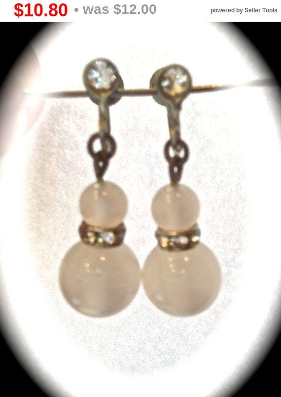 Summer Sale Summer white,  frosted crystal, screw back earrings
