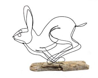 Running Rabbit Wire Sculpture, Hare Wire Sculpture, Bunny Art, 566626331