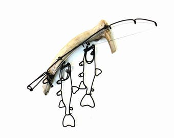 Trout Stringer and Fishing Rod Wire Sculpture, Trout Wire Art, Minimal Wire Sculpture, 557637624