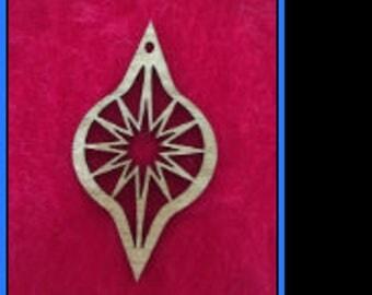 Wood Moravian Star Ornament - Flat